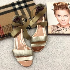Ted Baker Rose Gold Laana Flats/ Strappy Sandals